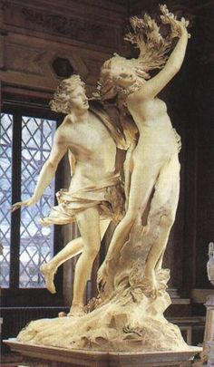 Bernini;  Apollo and Daphne...as she flees his advances, she is transforming into the laurel tree.