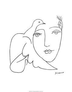 Pablo Picasso Face Dove Art Print