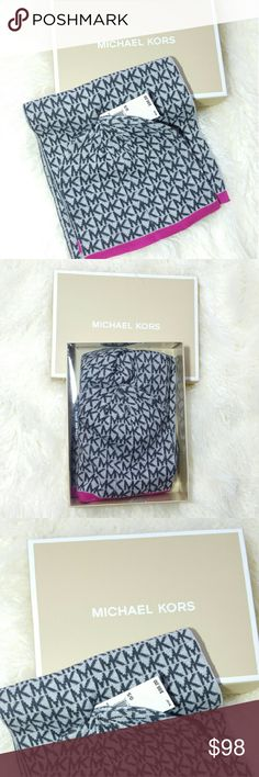 Michael Kors gift set with orginal MK box Brand new tags attached   Michael Kors gift set. Scarf, hat and orginal MK box. Colors gray tones with pink. Makes a great gift! Michael Kors Accessories Scarves & Wraps