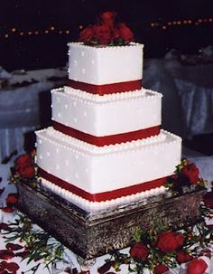 14 - 10 - 6 tiers; chocolate, strawberry, & butter; 3 layers each; cream cheese frosting