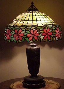 Antique Old Leaded Slag Stained Glass Handel Tiffany Style Lamp by Unique - NR   <3<3<3PRETTY FLOWER DETAIL<3<3<3