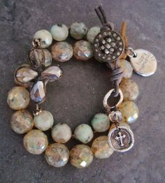 Rustic elephant stretch bracelet 'Happy Memories' beige opal glass, lucky good luck charm , leather, sundance, country chic. $65.00, via Etsy.