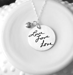 Personalized Handwriting Jewelry  by 3LittlePixiesShoppe on Etsy