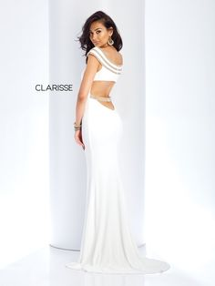 84c0ba10f74 3409 - Ivory off the shoulder jersey dress with gold beaded details on the  top and