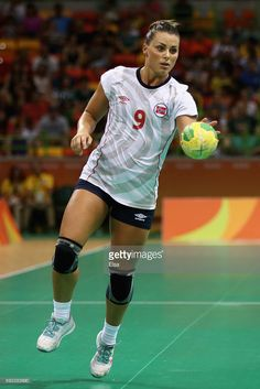 Nora Mork of Norway controls the ball during the Women's Handball Bronze medal match between Netherlands and Norway at Future Arena on Day 15 of the Rio 2016 Olympic Games at the Future Arena on August 20, 2016 in Rio de Janeiro, Brazil.