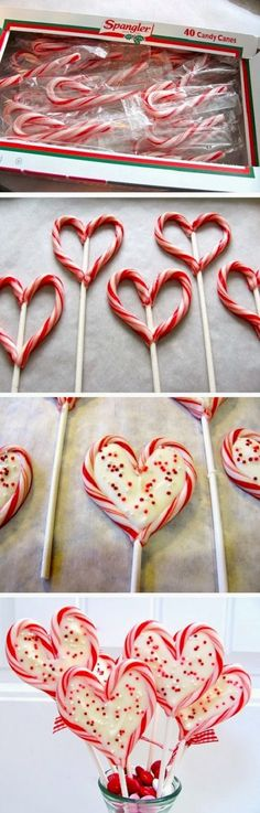 Candy Cane Sweetheart Pops.  Fun treat during Christmas... or maybe something to do with those leftover candy canes when Valentine's Day rolls around...