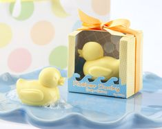 It's hard not to smile when looking at these adorable rubber ducky soap favors. Baby shower favors feature yellow rubber ducky soap with a clean, fresh scent. Each soap favor measures approximately 1 h x 1 w x l. Baby Shower Duck, Rubber Ducky Baby Shower, Baby Shower Gift Basket, Baby Shower Favors, Baby Shower Parties, Baby Shower Themes, Shower Party, Baby Shower Gifts, Baby Gifts