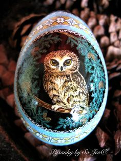Made To Order: Saw-whet Owls Pysanka Batik Blue by PysankyBySoJeo