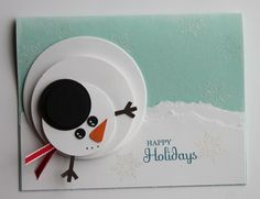snowman card - I may have to make this on a large scale for a wall hanging