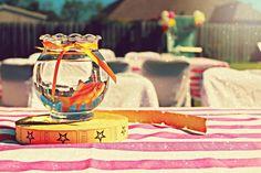 Cute Table Centerpiece Idea at a Circus Party with So Many Cute Ideas via Kara's Party Ideas   KarasPartyIdeas.com #CarnivalParty #Circus #PartyIdeas #PartySupplies #centerpiece