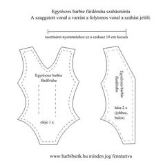Egyrészes barbie fürdőruha szabásminta/ Barbie swimsuit pattern Diy Clothes Patterns, Barbie Sewing Patterns, Doll Dress Patterns, Sewing Patterns Free, Diy Sewing Projects, Sewing Projects For Beginners, Swimsuit Pattern, Barbie Doll House, Barbie Accessories