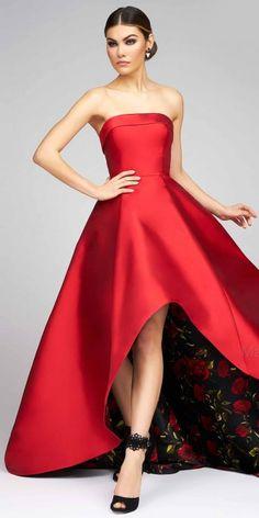 Peek-A-Boo Floral Strapless Evening Gown by Mac Duggal #edressme