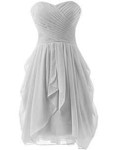 HUINI Strapless Bridesmaid Dresses Short Chiffon Prom Gown Ruched Silver US4 ** Check out the image by visiting the link.