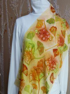 Handpainted Silk Ginkgo Leaf Scarf by judistack on Etsy, $95.00