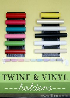 Twine and Vinyl Holders for the Craft Room. Tutorial for vinyl holder (OH, Chris! Vinyl Storage, Craft Room Storage, Craft Organization, Storage Ideas, Craft Rooms, Organizing Tips, Cleaning Tips, New Crafts, Vinyl Crafts