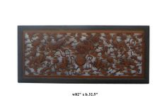 Chinese 8 Fu Dogs Relief Carved Long Wall Panel Divider cs365