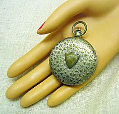 1930s Vintage Chromed Brass Pocket Watch Compass Vintage Pocket Watch, Compass, 1930s, Crochet Earrings, Brass, Rice