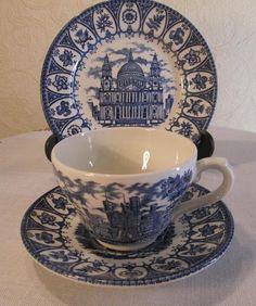 Princess Diana & Prince Charles Royal Wedding Cup Saucer Plate 1981 Hearts Designs 1