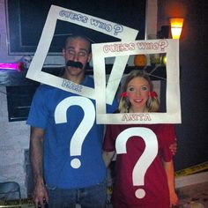 """Guess Who?"" dressed up like this for Halloween - Jill from Flightfox  great DIY Halloween costume for couples, easy and fun to make!"