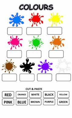 Colours: listen, cut - paste Language: English Grade/level: grade 1 School subject: English as a Second Language (ESL) Main content: The colours Other contents: English Activities For Kids, Learning English For Kids, English Lessons For Kids, English Worksheets For Kids, Kindergarten Math Worksheets, Preschool Learning Activities, Kids Learning, 1st Grade Worksheets, Games In English