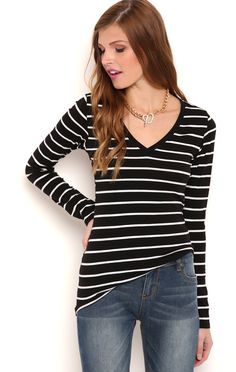 Deb Shops Long Sleeve Striped V Neck Top $5