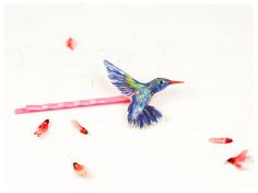 Haarnadel Kolibri etwas Blaues Geschenk von fraufischers auf Etsy