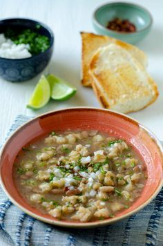 Gallina Pinta Soup, a sonora style authentic Mexican recipe gone vegan Authentic Mexican Recipes, Vegan Mexican Recipes, Vegetarian Recipes, Ham And Beans, Ham And Bean Soup, White Bean Soup, Hominy Recipes, Soup Recipes, Mexican Bean Soup