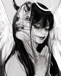 Dark art for our inner demons Arte Horror, Horror Art, Manga Art, Anime Art, Manga Anime, Dark Art Drawings, Pencil Drawings, Image Manga, Dark Anime