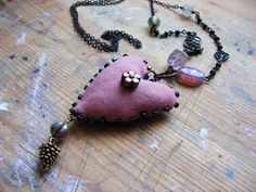 Enchanted textile necklace by The7thMagpie on Etsy