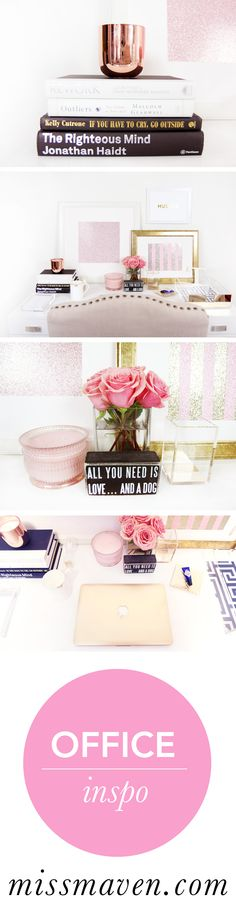 A revamped home office space. See more on MissMaven.com:   http://missmaven.com/2014/07/a-space-that-inspires/  #office #home