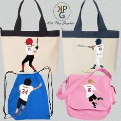 We have many different styles of bags to choose from.  Each personalized with the image of your child/grandchild/niece/nephew playing their favorite sport.