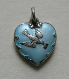 Vintage Enameled Bird and Love Letter Sterling Heart Charm