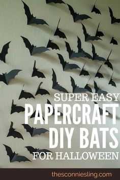 Make any room spooky with these easy DIY paper bats! Perfect cheap Halloween cra… Make every room spooky with these simple DIY paper bats! Adornos Halloween, Halloween Designs, Halloween Birthday, Halloween Party Decor, Holidays Halloween, Spooky Halloween, Halloween Crafts, Holiday Crafts, Diy Birthday