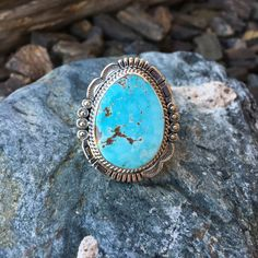 Bold Detailed Soft Blue Royston Turquoise Statement Ring - Size 7 1/2 | Buy Native American Jewelry at Sunface Traders