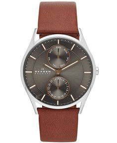 Skagen Men's Brown Leather Strap Watch 40mm SKW6086 - Men's Watches - Jewelry & Watches - Macy's