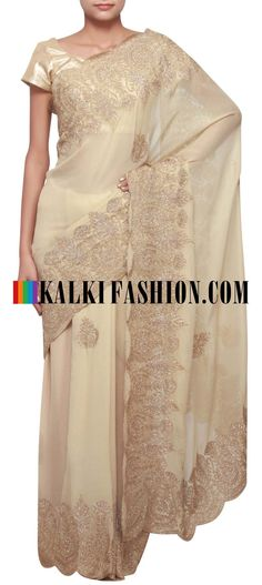 Get this beautiful golden saree here: http://www.kalkifashion.com/gold-foil-saree-featuring-in-thread-and-sequence-embroidery-only-on-kalki.html Free shipping worldwide. #50ShadesOfGold