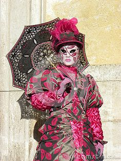 Red mask with umbrella, Carnival of Venice