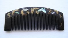 Antique Japanese Gold Lacquer Shell Inlay Comb Kogai Set Butterfly Design | eBay