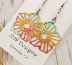 Metal Lace Pentagon Earrings with Crystal. Double-sided.  Mango