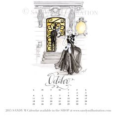 The first SANDY M 2015 Fashion Illustration Calendar is available now! All of the girls in the illustrations are wearing gowns from designer spring summer 2015 collections! October's girl has just arrived at a glamorous Black and White Ball and is holding a furry bunny mask inspired by Truman Capote's famous Black and White Ball .. she is wearing #carmenmarcvalvo ✨ CALENDAR AVAILABLE AT www.sandymillustration.com #illustration #fashion #calendar #sandym2015calendar