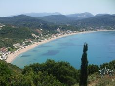 Arillas Beach as seen from Akrotiri Cafe, Arillas Beach sandy and relaxing.