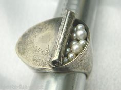 RARE Modernist WALTER SCHLUEP Ring CAN OF PEARLS Sterling Silver sz 7.5