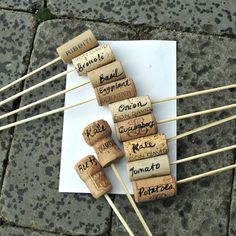 Make plant labels with corks and bamboo skewers