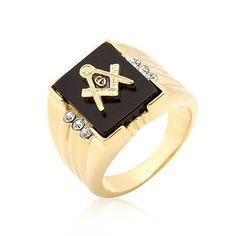 18k Gold Plated Ring with Masonic Symbol and Onyx Accents with Round Cut Clear Cubic Zirconia Accents on the Side Polished into a Lustrous Goldtone Finish