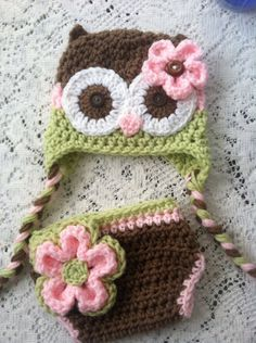 Brown pink and celery green owl hat and diaper cover by MarysMoxee, $45.00
