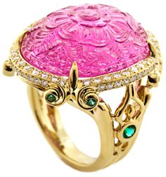 Carved Pink Tourmaline, Emeralds and Diamonds mounted in 18k gold ring - Henry Dunay