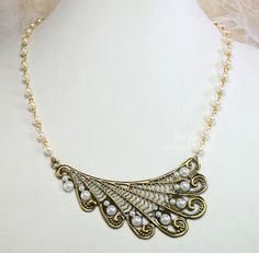 Pearls and Swirls Wing Necklace and Butterfly Bezel by Heidi Blankenship