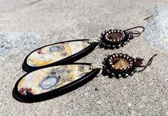 Crystal and Orbicular Jasper Earrings – Sun Goddess – gold, grey, and touch of burgundy Statement Earrings