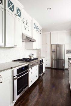 like the floors......kitchens - white shaker kitchen cabinets gray quartz countertops mosaic tiles backsplash  Beautiful kitchen design with creamy white shaker kitchen