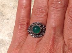 Green Agate Ring Silver  Green  Agate Ring by MasalaJewelry